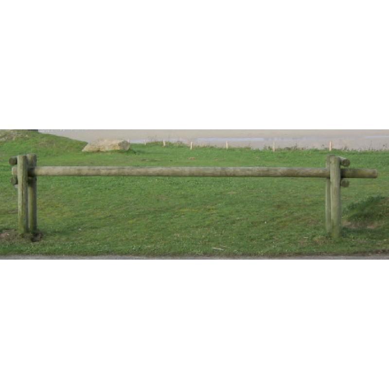 Barri re en bois coulissante poteaux ronds largeur 350 cm for Barriere coulissante jardin